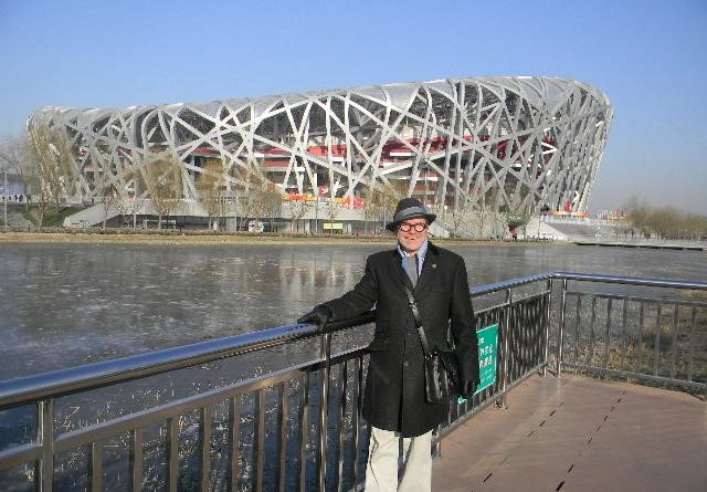 Joe Goldblatt outside the Birdseye Stadium in Beijing China